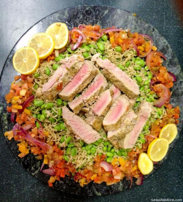 Grill Pan Tuna With Edamane Noodles