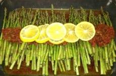 Lemon Roasted Asparagus with Garlic Chipolte Salsa