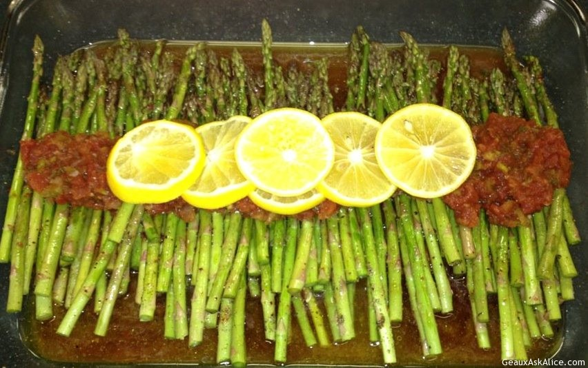 Lemon Roasted Asparagus With Chiplote Sauce