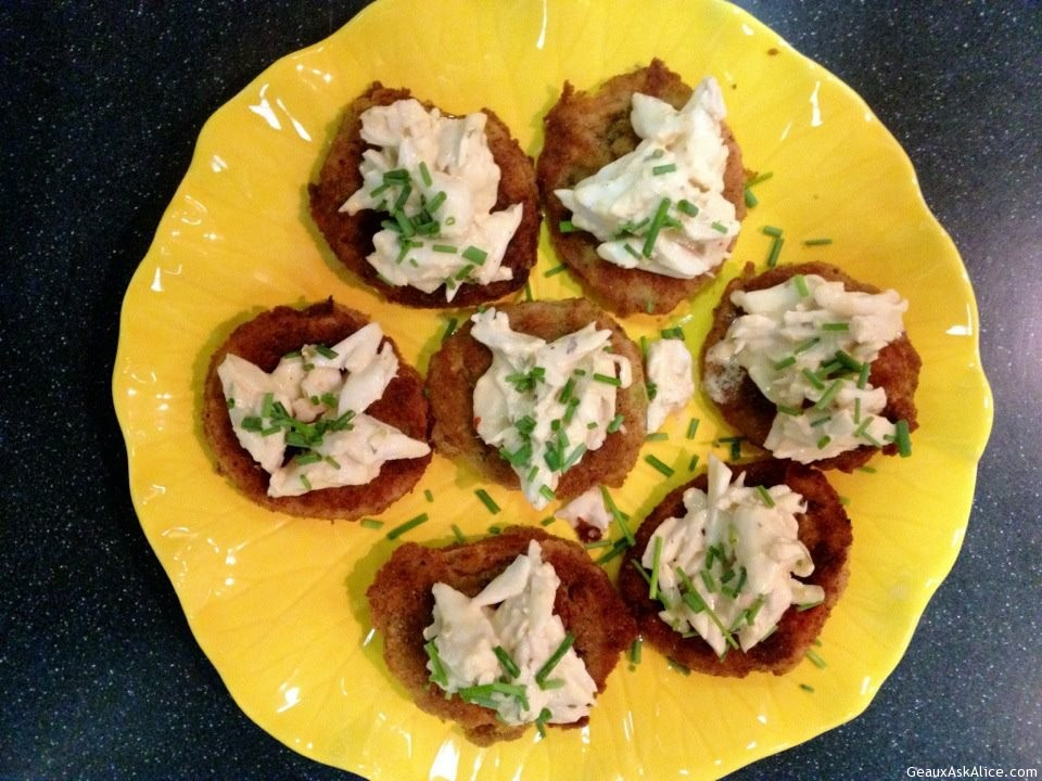 Plated Fried Green Tomatoes With Crabmeat Toppings