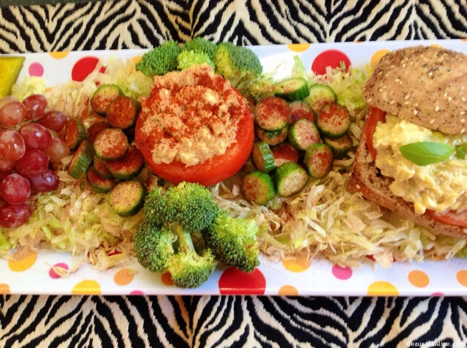 Tuna Fish Stuffed Tomato Or Avocado Or Tuna Fish On Ciabatta Bread