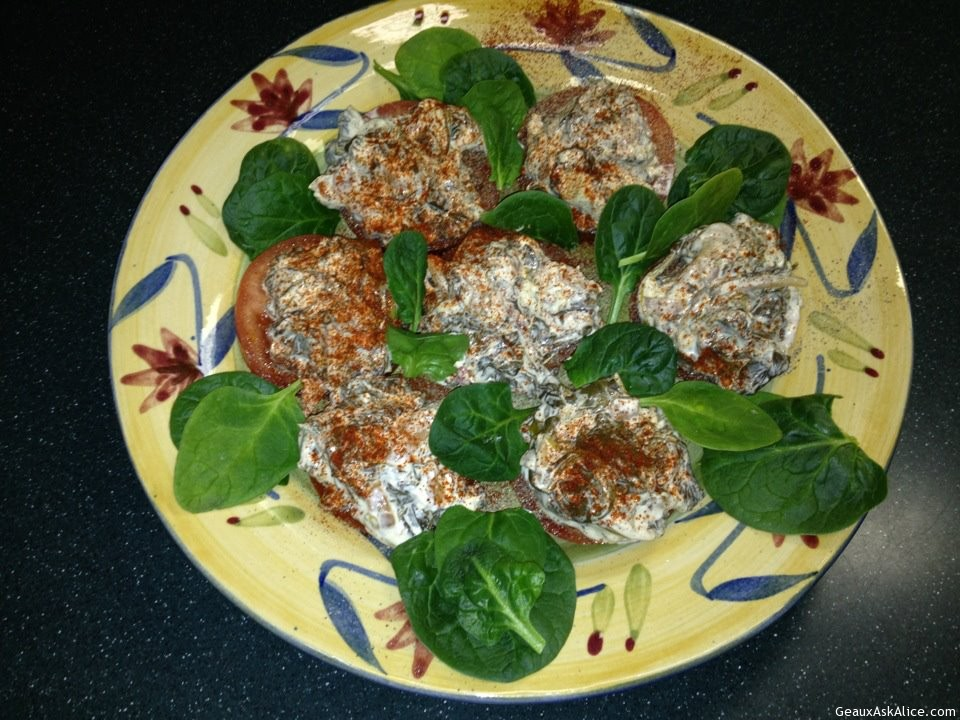 Tomatoes Topped With Spinach
