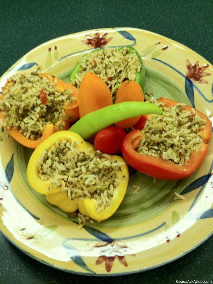 Cajun Rice Dressing Stuffed Bell Peppers Or Tomatoes