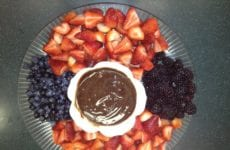 Tray Of Fruit With Yogurt Chocolate Dipping Sauce