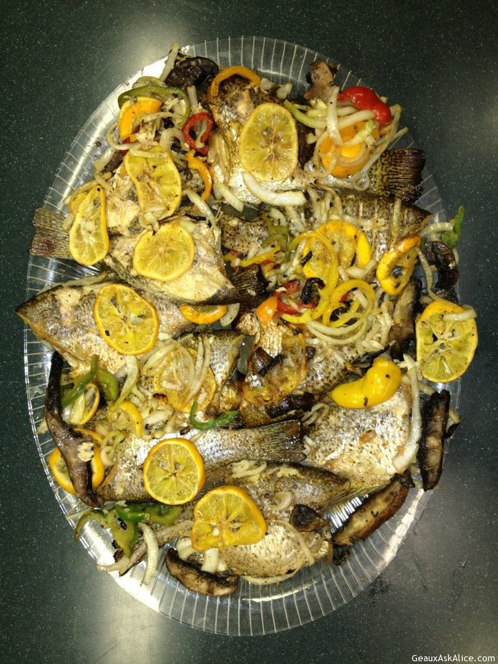 Grilled Fish With Lemon, Mushroom, Bell Peppers And Onions