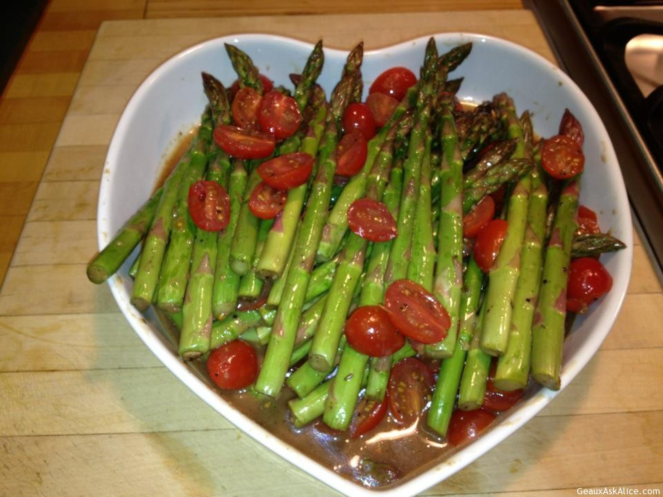 Roasted Asparagus And Cherry Tomatoes With Fresh Parmesan