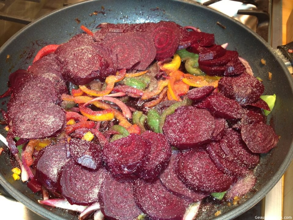 Fresh Beets, Peppers And Onions