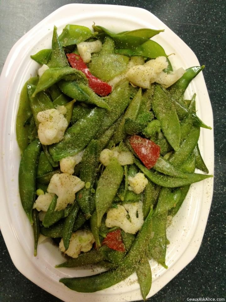 Plated Up Snow Peas And Sugar Snaps
