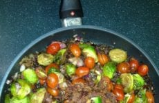 Bacon Tomato Sauted Brussel Sprouts