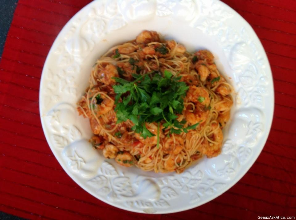 Palte Up Of Shrimp And Pasta
