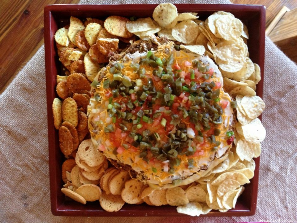 Taco Chessecake With Chips On Platter