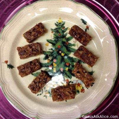 Pecan Bars Plated Up On Christmas Platter