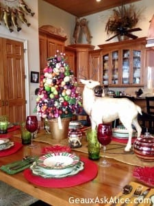 Decorations on Christmas table.