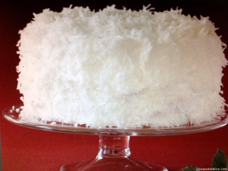 Beautiful And Yummy Looking Coconut Cake On Cake Plate.