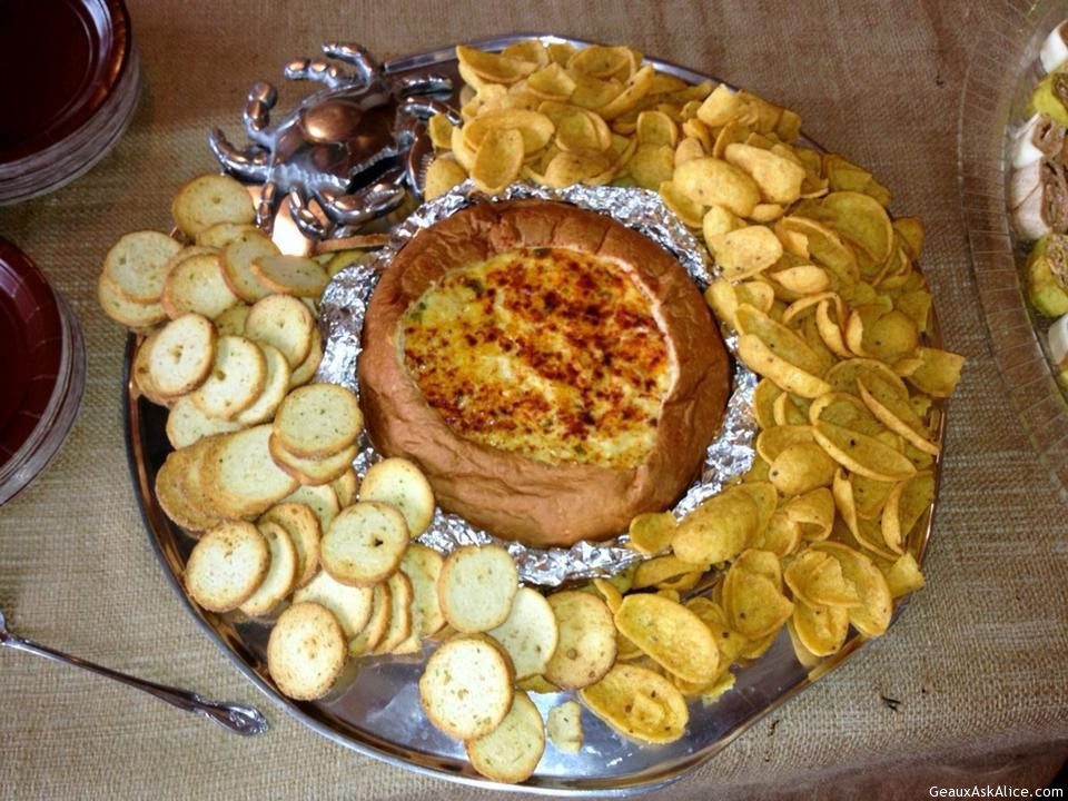 Corn Dip In Bread Bowl On Platter With Chips And Crackers