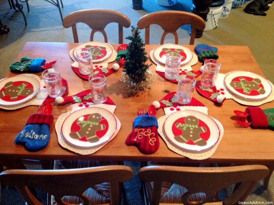 Childrens Table Decorated For Their Christmas Feast.