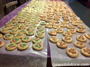 Cookies all laid out to cool.