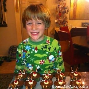 Grandson Luke with cupcakes