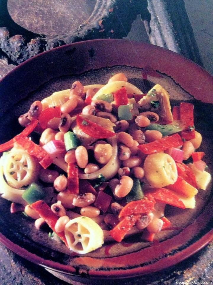 Platted Up Serving Of Pickled Black Eye Pea Salad.