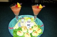 Salmon Deviled Eggs Platted Up With Drinks