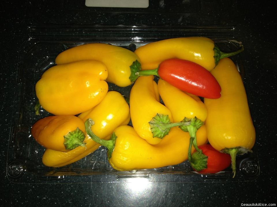 Yellow And Red Peppers.