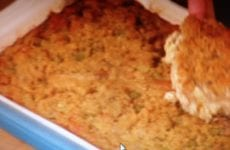 Dish Of Cornbread Dressing.