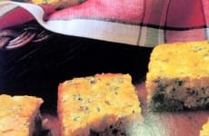 Broccoli Cornbread cut into squares