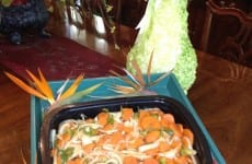 Dish of baked carrots