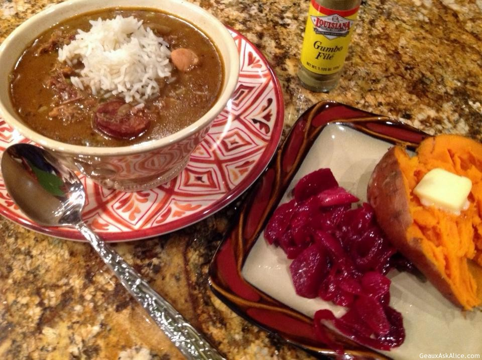 Plated Up Chicken And Sausge Gumbo With Rice, Beets And Yams As A Side