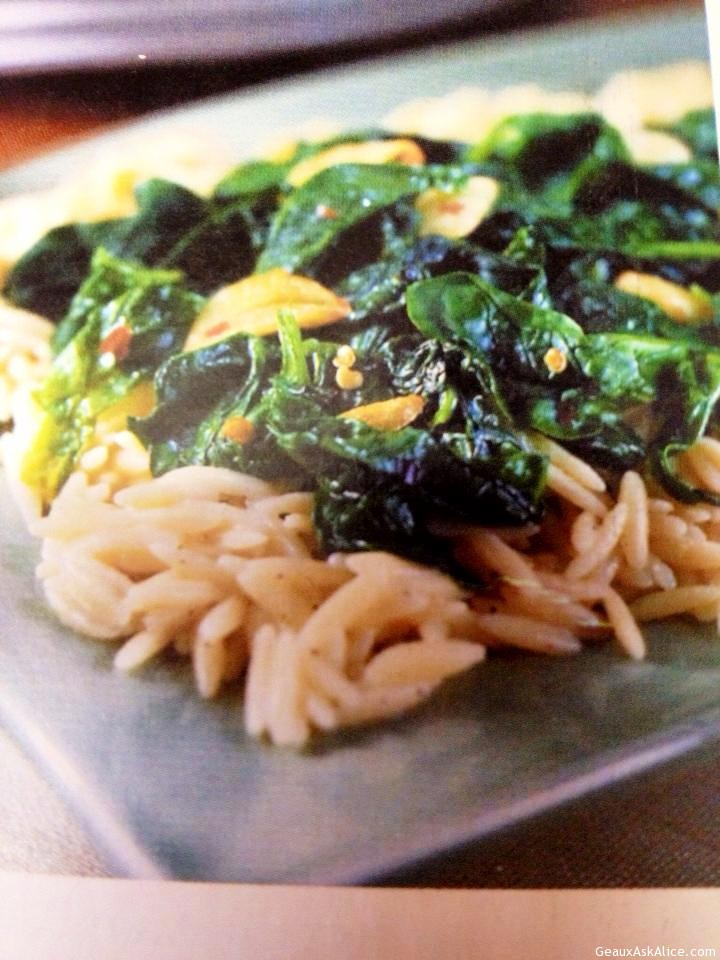 Dish Of Creamy Orzo With Sautéed Spinach