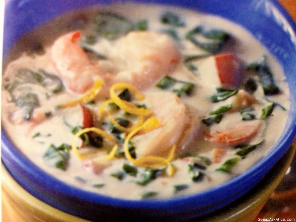 Bowl Of Spinach And Shrimp Chowder Topped With Lemon Zest
