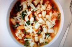 Bowl of Kale, Pasta and White Bean Soup