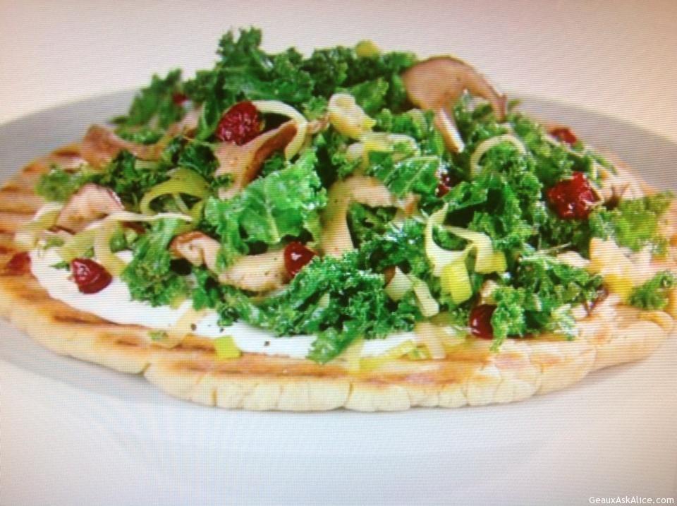 Kale And Mushroom Flatbread Plated Up