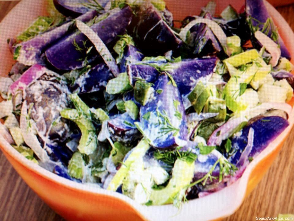 Bowl Of Purple People Eater Potato Salad