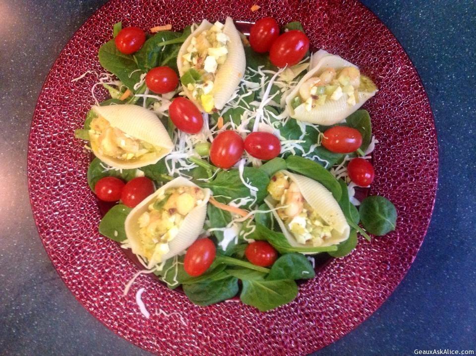 Plate Of Jumbo Pasta Shells Stuffed With Shrimp Salad