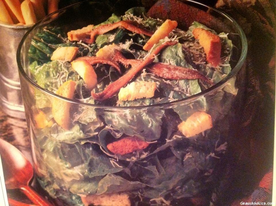 Bowl Of Caesar Salad And Dressing