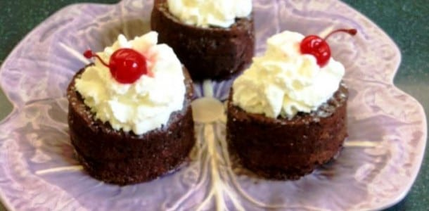 Three Individual Molten Chocolate Lava Cakes on a plate.