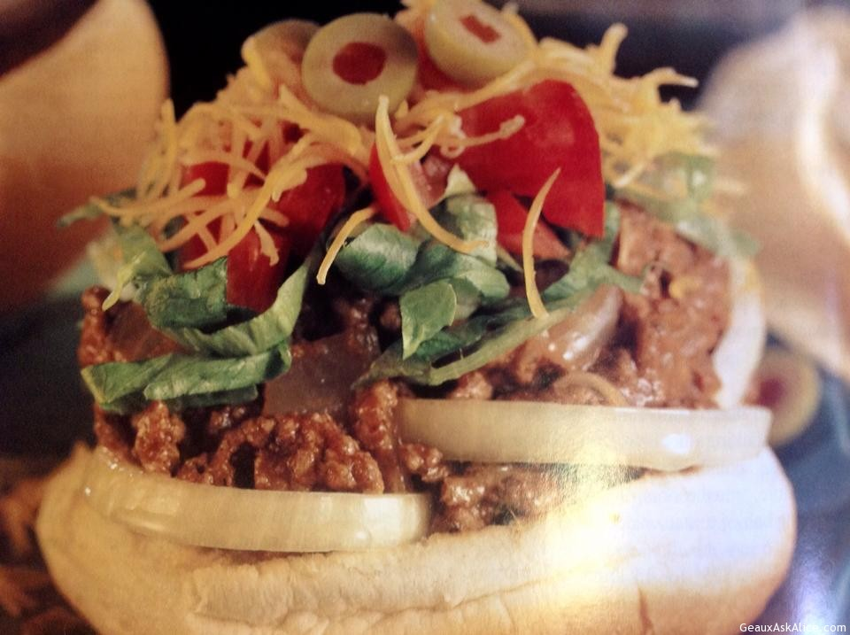 Taco Burger With Open Bun To Show How Delicious It Looks.