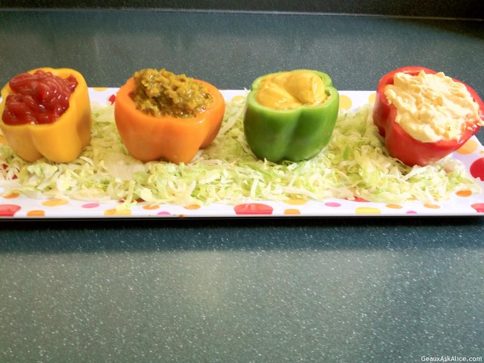 Bell Peppers Hollowed Out And Filled With Condiments.