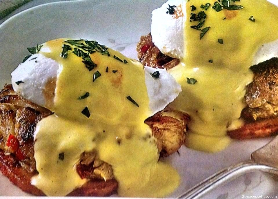 Crab Cake, Poached Egg, Topped With Hollandaise Sauce