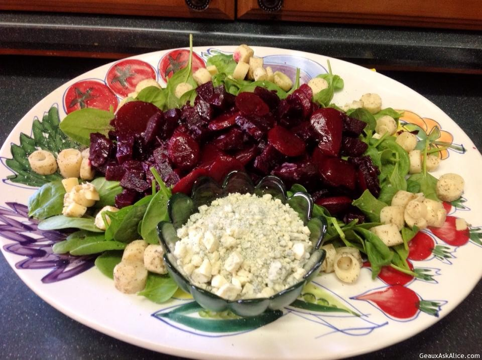 Fresh Beet, Heart Of Palm, Kale Spinach Salad