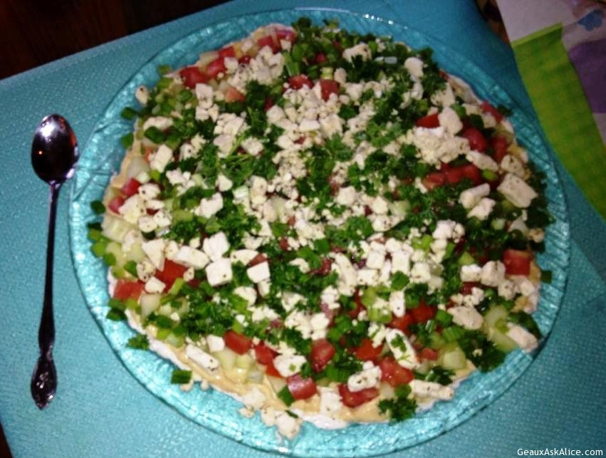 Seven Layer Greek Dip To Be Served With Chips