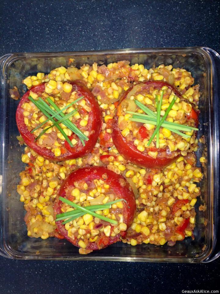 Corn Stuffed Creole Tomatoes