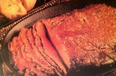 Sliced and dished Honey Marinated Flank Steak