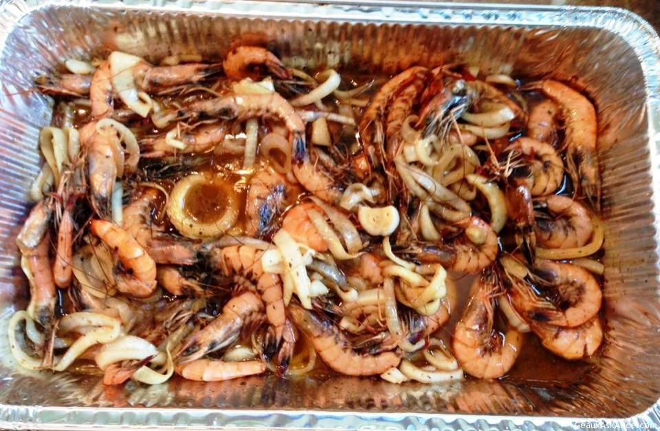 Micro-Waved BBQ Shrimp Before Serving.