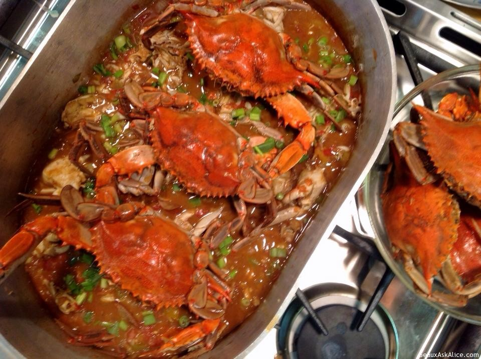Pot Of Crab Stew On Stove Cooked.