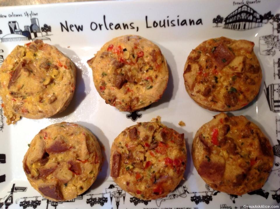 Andouille Spinach Cheese Breakfast Muffins