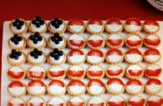 Mini Pies With Strawberries And Blueberries To Look Like A Flag.