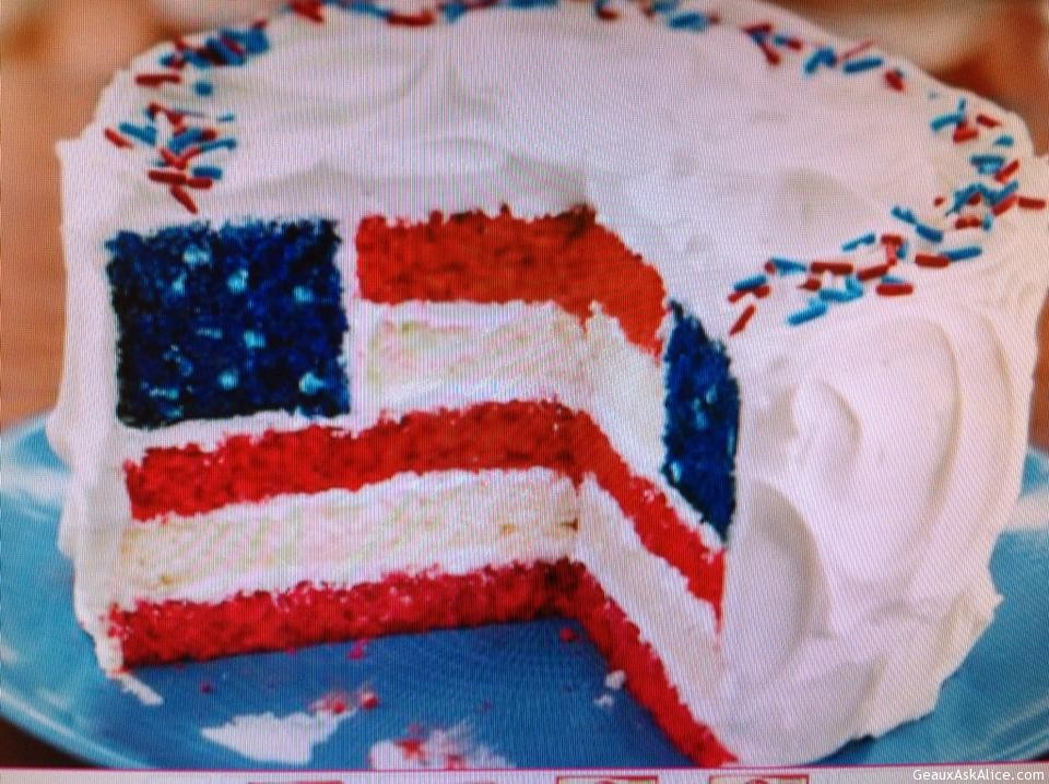 Cake Layered In Red White And Blue For 4th Of July