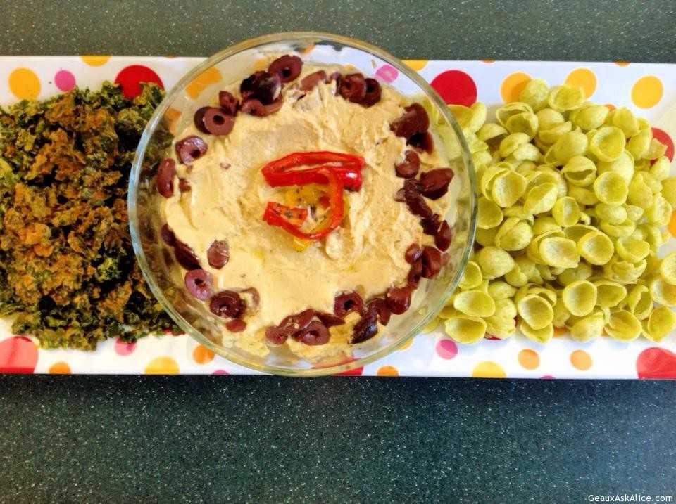 Frances' Hummus Bi Tahini Dip On A Tray With Chips.